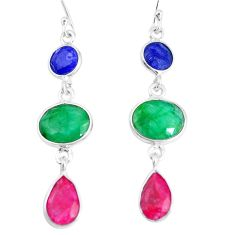 13.13cts natural green emerald sapphire ruby 925 silver dangle earrings p14178