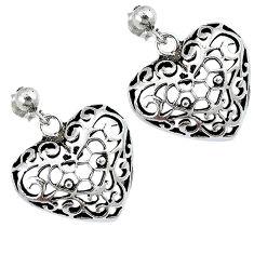 Indonesian bali java island 925 sterling silver dangle heart earrings p1450