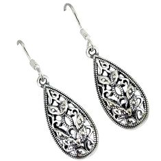 Indonesian bali java island 925 sterling solid silver dangle earrings p1478