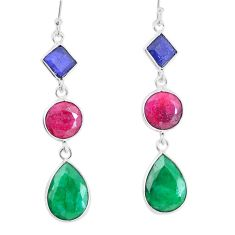 19.66cts natural green emerald ruby sapphire 925 silver dangle earrings p14821