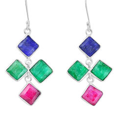18.12cts natural red ruby emerald sapphire 925 silver dangle earrings p14851