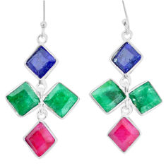 18.59cts natural red ruby emerald sapphire 925 sterling silver earrings p14857