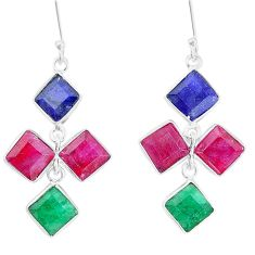 18.70cts natural red ruby emerald sapphire 925 sterling silver earrings p14860