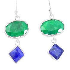 17.53cts natural green emerald blue sapphire 925 silver dangle earrings p14864