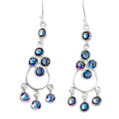 14.23cts multi color rainbow topaz 925 silver chandelier earrings jewelry p15209