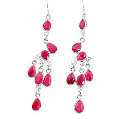 18.94cts natural red ruby 925 sterling silver chandelier earrings p15216