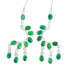 18.52cts natural green emerald 925 silver chandelier earrings jewelry p15225
