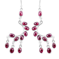 21.72cts natural red garnet 925 sterling silver chandelier earrings p15231