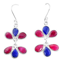 13.70cts natural red ruby blue sapphire 925 silver chandelier earrings p15246
