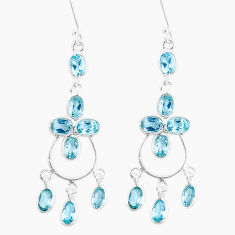 14.72cts natural blue topaz 925 sterling silver chandelier earrings p15262