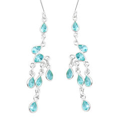 925 sterling silver 14.42cts natural blue topaz chandelier earrings p15280