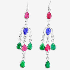 Silver 17.95cts natural red ruby sapphire emerald chandelier earrings p15289