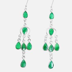 18.15cts natural green emerald 925 sterling silver chandelier earrings p15291
