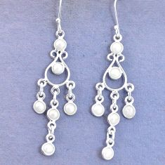 925 sterling silver 9.67cts natural white pearl round earrings jewelry p15335