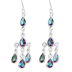 12.05cts multicolor rainbow topaz 925 sterling silver chandelier earrings p15341