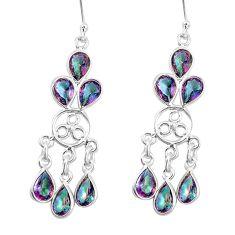 925 sterling silver 15.58cts multicolor rainbow topaz chandelier earrings p15343