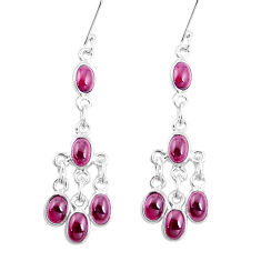 12.96cts natural red garnet 925 sterling silver chandelier earrings p15348