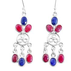 925 silver 15.55cts natural red ruby sapphire chandelier earrings jewelry p15351