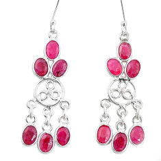 14.47cts natural red ruby 925 sterling silver chandelier earrings jewelry p15354