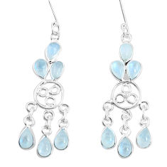 7.97cts natural rainbow moonstone 925 sterling silver chandelier earrings p15357