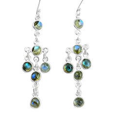 13.77cts natural blue labradorite 925 sterling silver chandelier earrings p15358