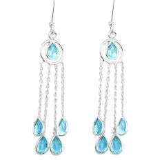 9.72cts natural blue topaz 925 sterling silver chandelier earrings p15381