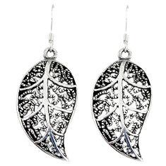 925 silver indonesian bali java island dangle deltoid leaf earrings p1550