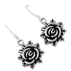 Indonesian bali java island 925 sterling silver dangle flower earrings p1556