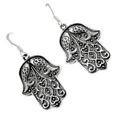 925 sterling silver indonesian bali java island hand of god hamsa earrings p1569