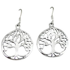 Indonesian bali style solid 925 silver tree of life earrings jewelry p1614