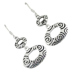 Indonesian bali style solid 925 sterling silver dangle earrings jewelry p1619