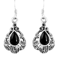 5.42cts natural black onyx 925 sterling silver dangle earrings jewelry p16406
