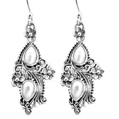 4.38cts natural white pearl 925 sterling silver dangle earrings jewelry p16415