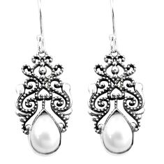 4.71cts natural white pearl 925 sterling silver dangle earrings jewelry p16417