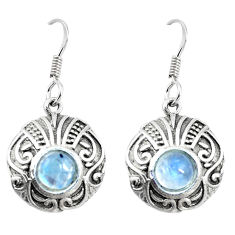 925 sterling silver 3.13cts natural rainbow moonstone dangle earrings p16420