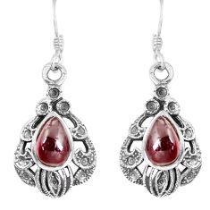 5.43cts natural red garnet 925 sterling silver dangle earrings jewelry p16426