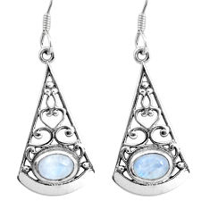 4.38cts natural rainbow moonstone 925 sterling silver dangle earrings p16438