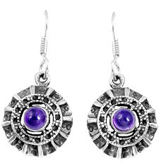 2.06cts natural purple amethyst 925 sterling silver dangle earrings p16442