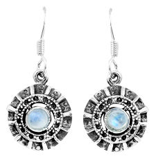 1.88cts natural rainbow moonstone 925 sterling silver dangle earrings p16457