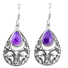925 sterling silver 5.63cts natural purple amethyst dangle earrings p16467