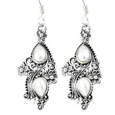 4.38cts natural white pearl 925 sterling silver dangle earrings jewelry p16495