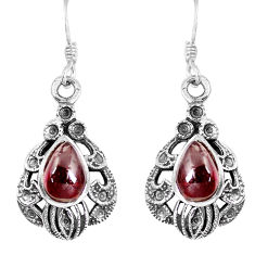 4.21cts natural red garnet 925 sterling silver dangle earrings jewelry p16506