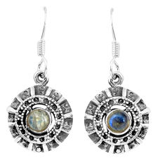 925 sterling silver 1.81cts natural rainbow moonstone dangle earrings p16515