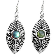 3.01cts natural blue labradorite 925 sterling silver dangle earrings p16518