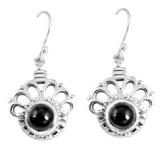 6.18cts natural black onyx 925 sterling silver dangle earrings jewelry p16522