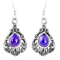 4.68cts natural purple amethyst 925 sterling silver dangle earrings p16526