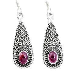 925 sterling silver 2.36cts natural red garnet dangle earrings jewelry p16527