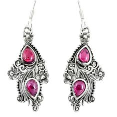 925 sterling silver 4.38cts natural red garnet pear earrings jewelry p16580