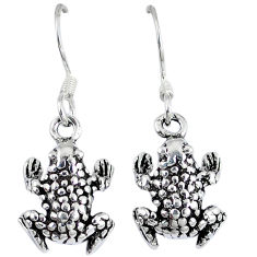 Indonesian bali style solid 925 sterling silver dangle frog earrings p1665