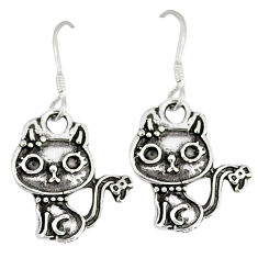 Indonesian bali style solid 925 sterling silver cat earrings jewelry p1670